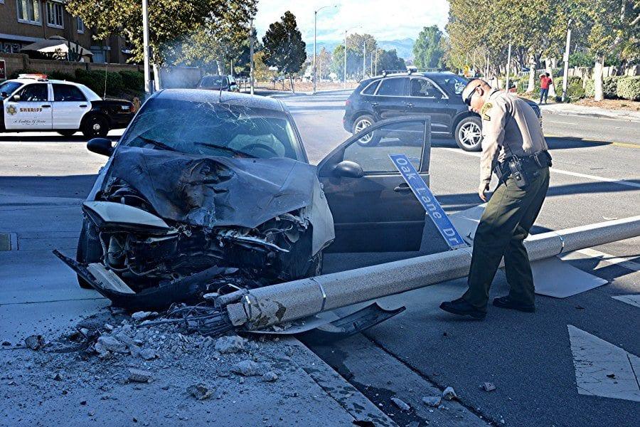 Flat tire sends car into pole