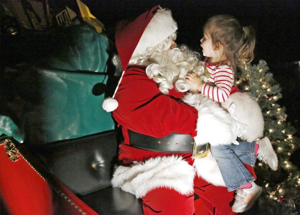 Castaic families welcome Santa in his sleigh