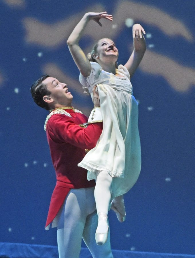 Santa Clarita Ballet Company dancers, West Ranch High School sophomore Mia Lachman as Marie is lifted Luis Martinez as the Nutcracker as they perform The Nutcracker Ballet on stage at the Santa Clarita Performing Arts Center in Valencia for 650 local fourth-grade students on Wednesday. Dan Watson/The Signal