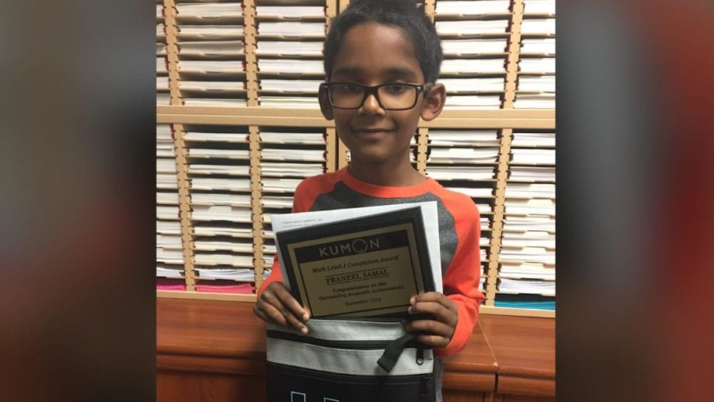 Kumon student, 9, completes math program in record time
