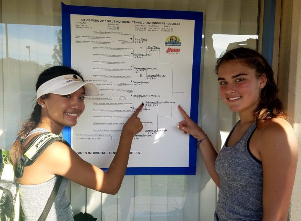 Valencia girls tennis duo headed to CIF-SS semis