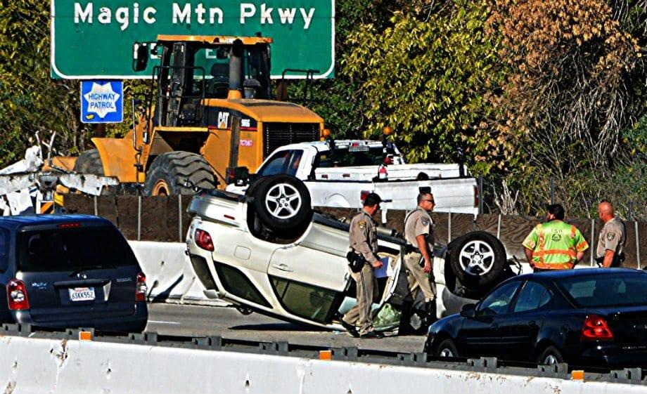 SUV flips upside down on I-5, no injuries