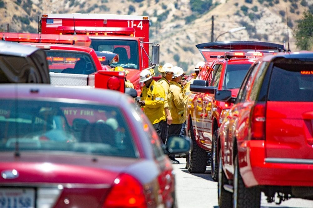 The unified command post during the Sierra Fire on Tuesday, June 19th 2018.  Cory Rubin/The Signal