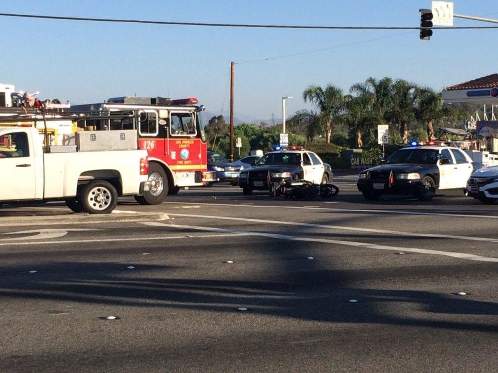 No one hurt in motorcycle versus bus collision