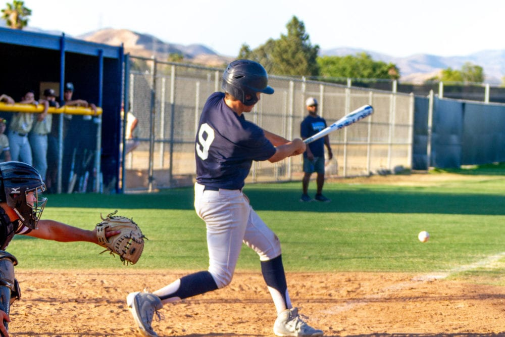 Saugus' Brandon Stell hits a ball into foul territory. Austin Dave/The Signal