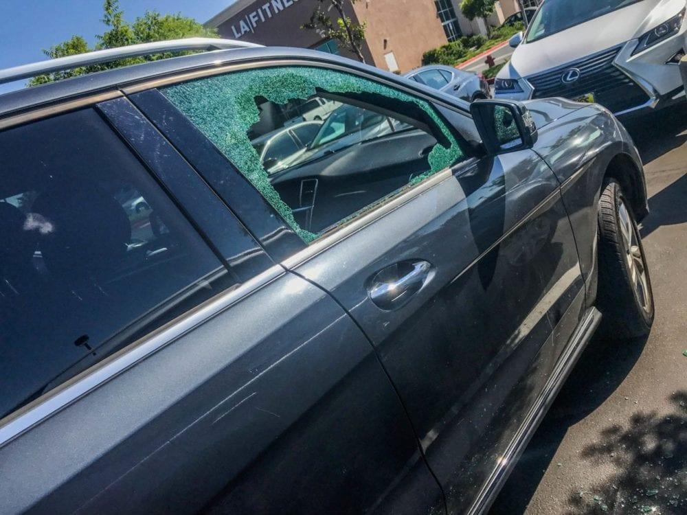 Car window shattered after a break in near LA Fitness. Courtesy Photo