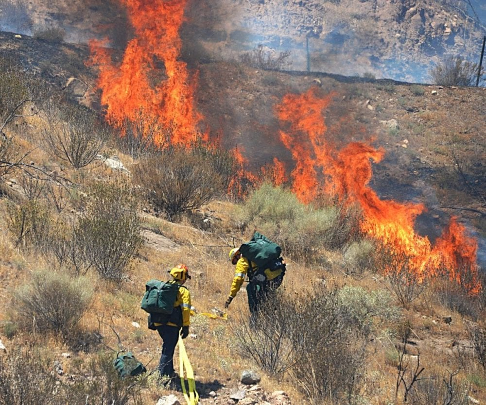 Progression of a 2-acre fire along SB 14 freeway ceased