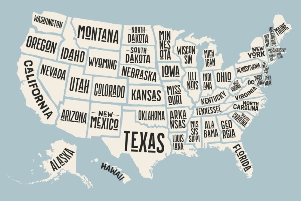 Poster map United States of America with state names – Santa Clarita ...