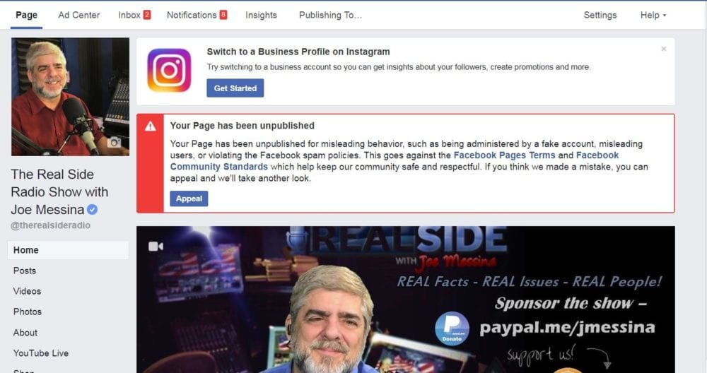 Facebook page for Messina's talk show pulled for violations of community standards