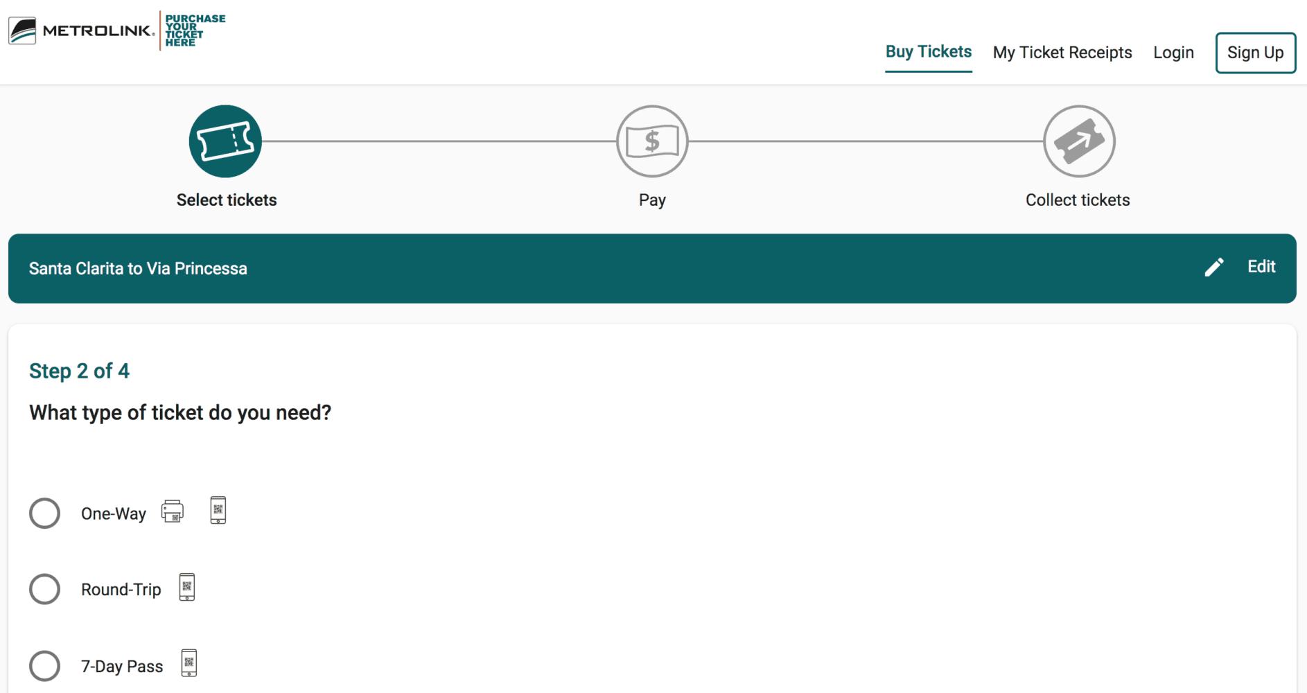 Screenshot Metrolink Ticket Web Portal 112918