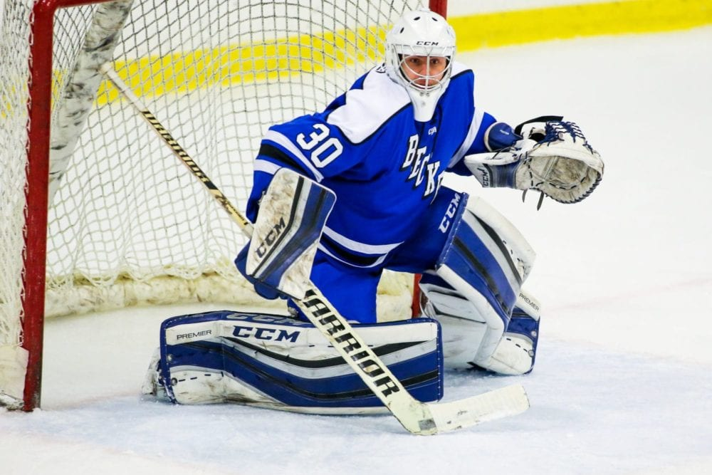 Becker College Hawks goalie Cody Foster (30)