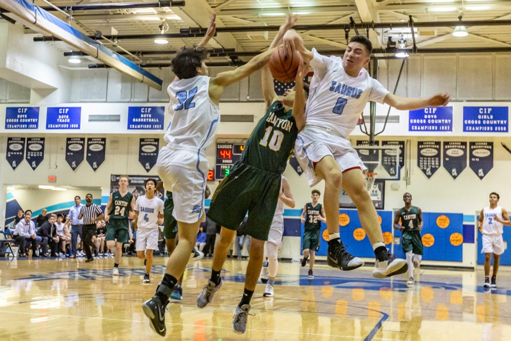 Strong defensive effort in second half leads Saugus boys basketball to victory over Canyon