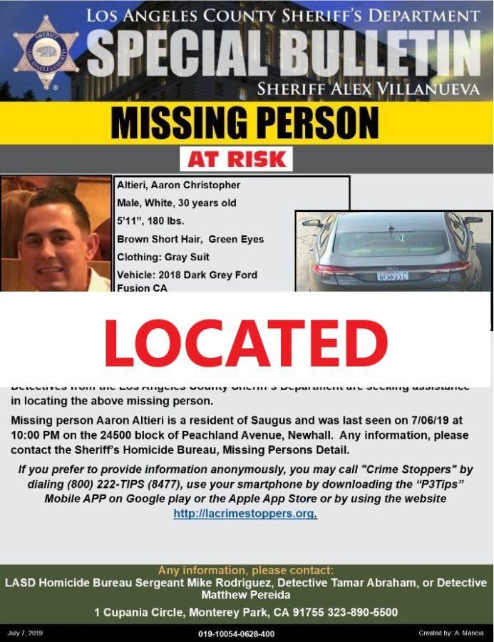 Missing Saugus man found in Lancaster