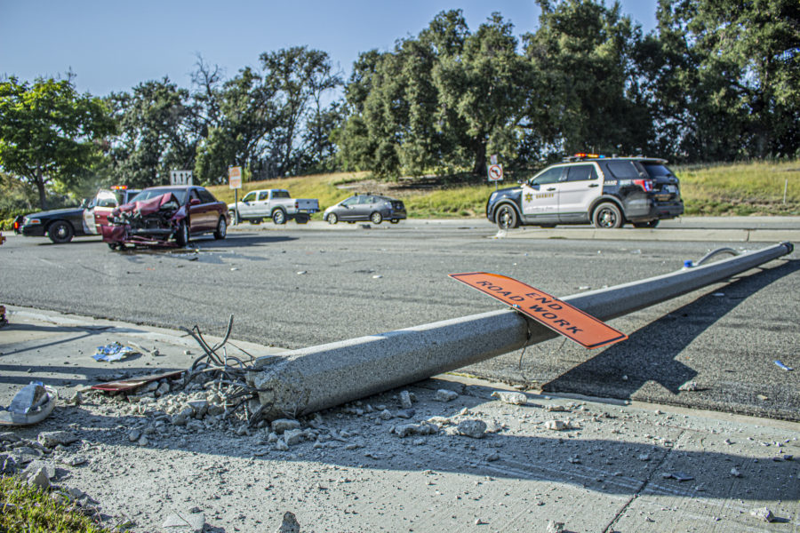 Cars Collide with Light Post, Stop Traffic Near CalArts