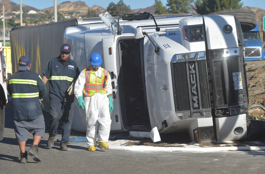 Big rig rolls off Interstate 5 in Castaic