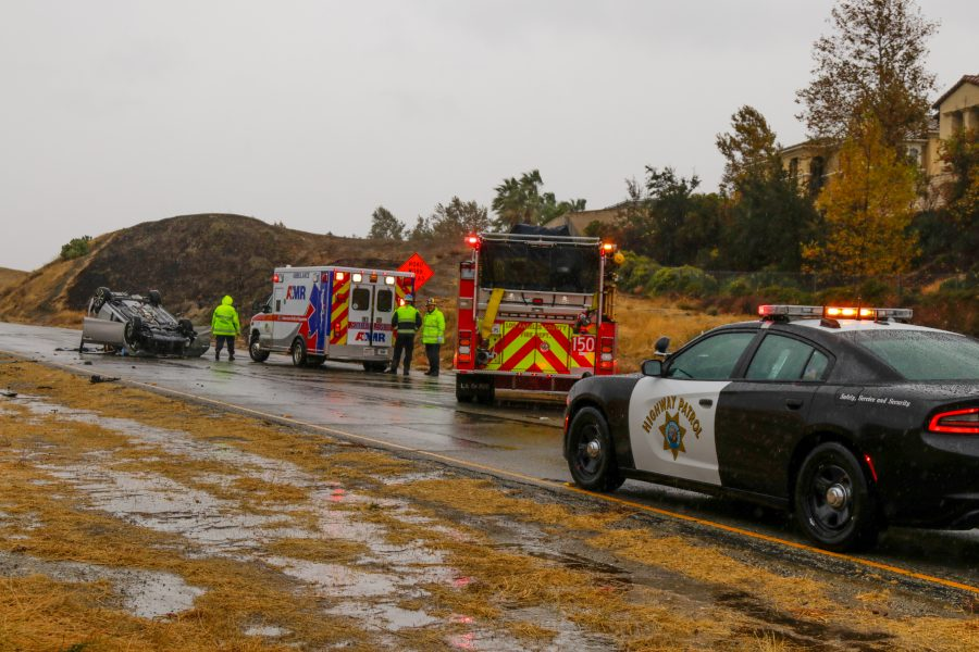 Morning rain triggers rollovers in the SCV