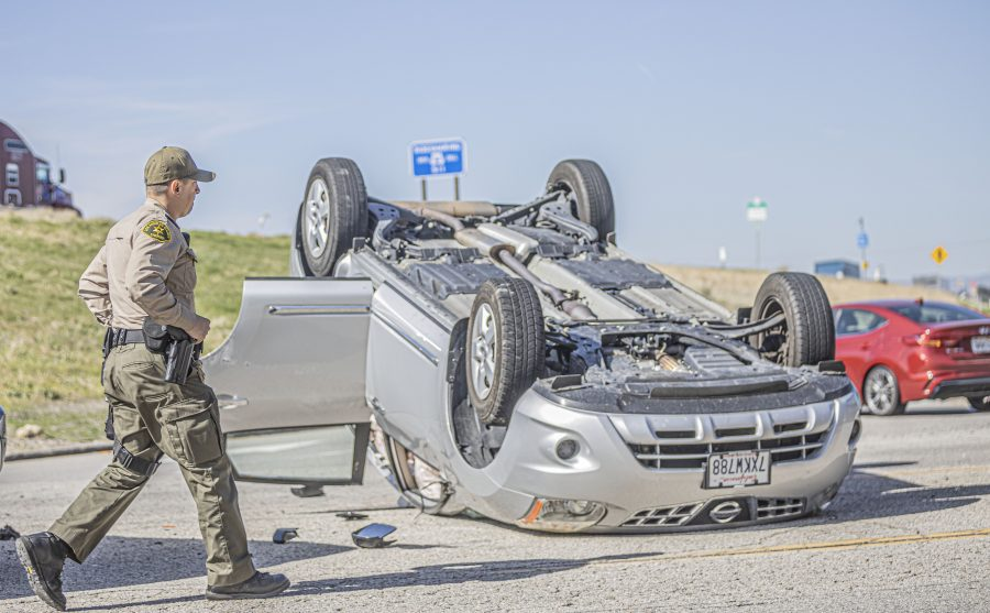 Vehicle overturns on Calgrove, no injuries reported