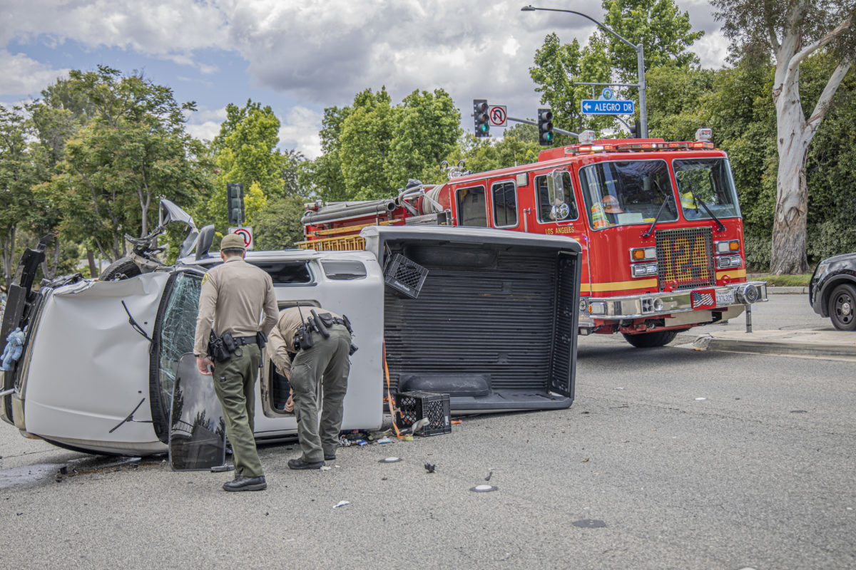 Truck rolls over in Valencia, no injuries reported
