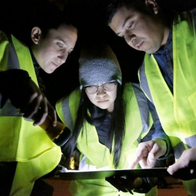 FILE PHOTO From left, Alix Schwartz, 26, Gabby Vera, 27, and Hector Sherman, 30, look at a map next to Valencia Meadows Park as they participate in the annual homeless count on Tuesday, Jan. 23, 2018. Nikolas Samuels/The Signal