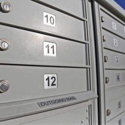 US Postal Service neighborhood delivery box units.