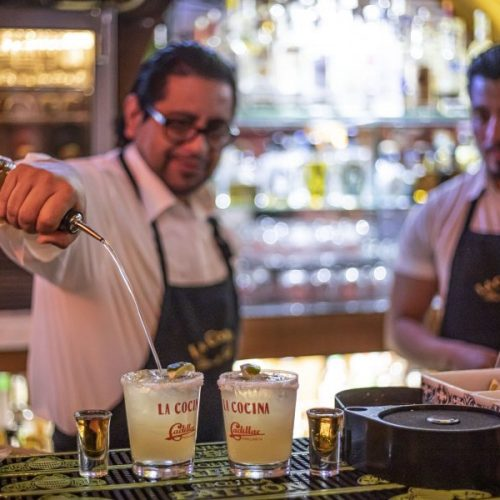 Bartenders at La Cocina on Bouquet Canyon Road prepare the restaurant's Cadillac Margarita. February 18, 2020. Bobby Block / The Signal.