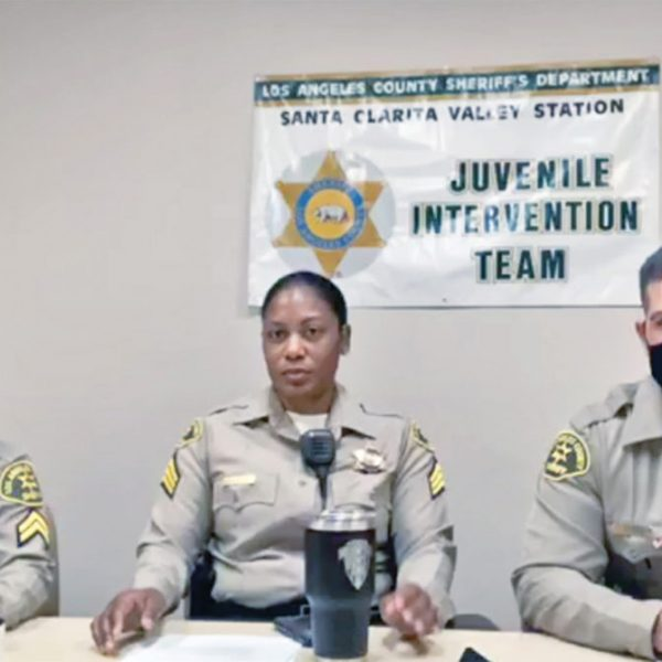 SCV Sheriff's Station J-Team members, from left, Detective Nashla Barakat, Sgt. Erica Gooseberry and Deputy Albert White offer information about the dangers of fentanyl during a virtual roundtable on Thursday, Aug. 27, 2020. Screenshot