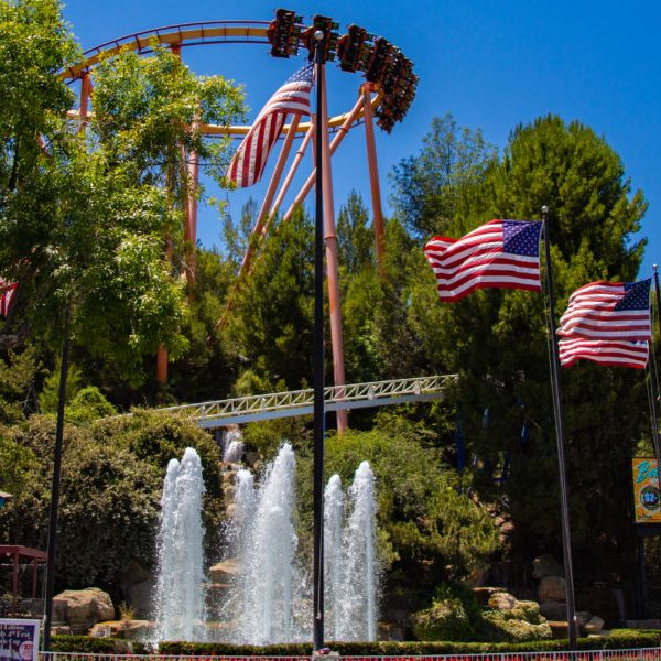 The iconic fountain at SIx Flags Magic Mountain welcomes throngs of summer guests for their 2018 Fourth of July celebration. File Photo Cory Rubin/ The Signal
