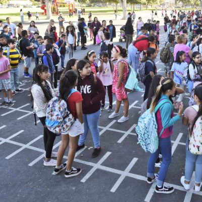 SIGNAL FILE PHOTO: Students line up outside their classrooms on the first day of school at Newhall Elementary School in Newhall.  Dan Watson/The Signal  081519