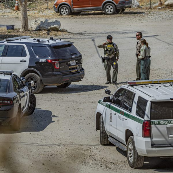Federal Law Enforcement personnel from the United States Forrest Service join Los Angeles County Sheriff's deputies from the Palmdale station to investigate a gun call on Soledad Canyon Road in Agua Dulce Sunday afternoon. August 16, 2020. Bobby Block / The Signal.