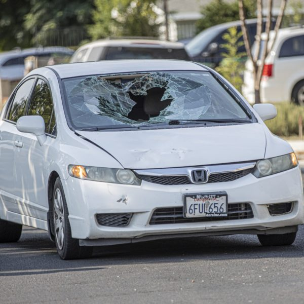 Santa Clarita Valley Sheriff's Station deputies respond to reports of a vehicle versus bike crash on Walnut Springs Avenue Sunday afternoon. August 16, 2020. Bobby Block / The Signal.