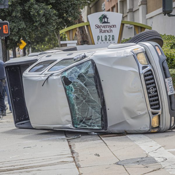 One vehicle overturned following a two-vehicle traffic collision near Stevenson Ranch Plaza on the Old Road Sunday afternoon. August 23, 2020. Bobby Block / The Signal.