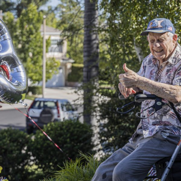 Jay Paris, a veteran serving in both World War II and the Korean War, celebrates his 93rd birthday with a drive-by ceremony Sunday afternoon. August 30, 2020. Bobby Block / The Signal.