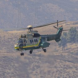 L.A. County Sheriff's Department's Air Rescue 5 helicopter flies over Castaic Lake while transporting a patient to a nearby hospital. September 06, 2020. Bobby Block / The Signal.