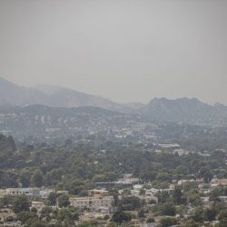 The air over Newhall is laden with a milky haze due to smoke blown into the Santa Clarita Valley from nearby brush fires Monday afternoon. September 07, 2020. Bobby Block / The Signal.