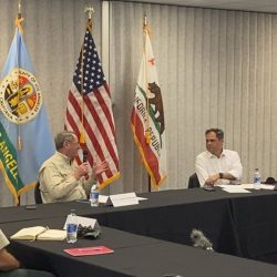 Rep. Mike Garcia, R-Santa Clarita, right, hosts a wildfire roundtable with local and federal leaders to streamline firefighting efforts on Wednesday, Sept. 9, 2020. Courtesy photo