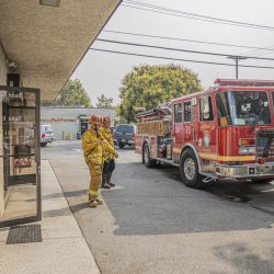 Firefighters from Los Angeles County Fire Department Station 73 respond to a fire in a commercial building in Newhall Monday Morning. September 14, 2020. Bobby Block / The Signal.