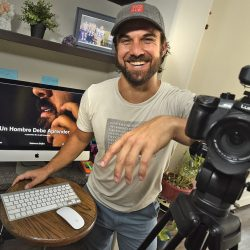 Filmmaker Jeff Bomberger displays his short film,