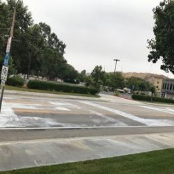 A picture of the lettering left on the street. Courtesy photo
