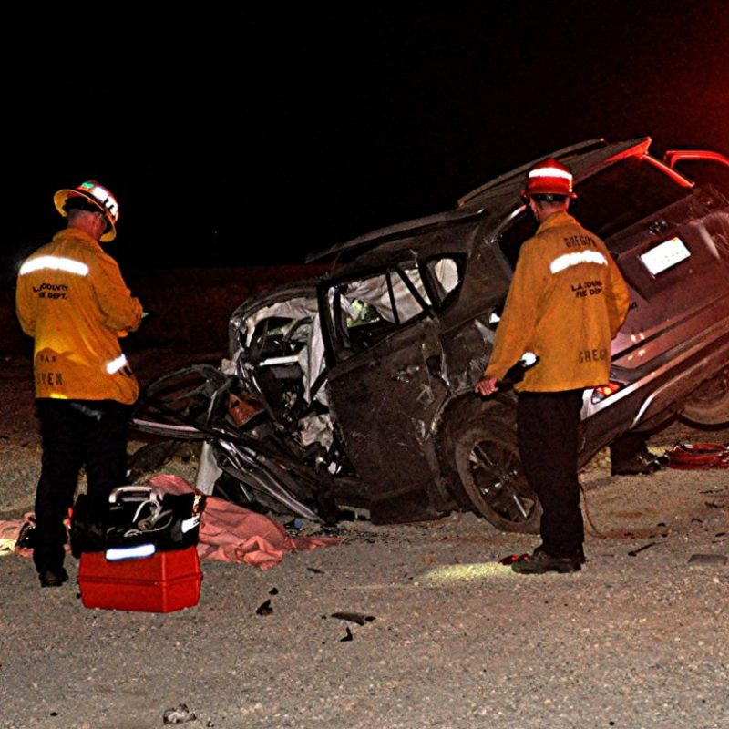 Los Angeles County Fire Department officials and California Highway Patrol officers respond to a fatal traffic collision on Newhall Avenue, near Highway 14, on Tuesday, June 16, 2020. Rick McClure/For The Signal