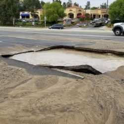 SIGNAL FILE PHOTO: A water main break in Valencia is causing lane closures and traffic delays as crews work to stop water from spilling onto the streets Wednesday. Bobby Block / The Signal.