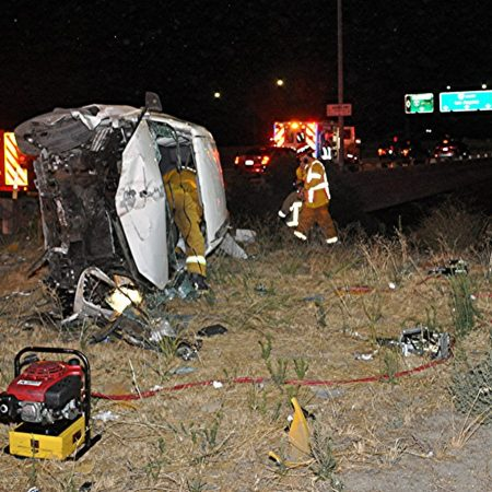 Overturned vehicle on SB 14 to the NB 5 Interchange. Photo by Rick McClure.