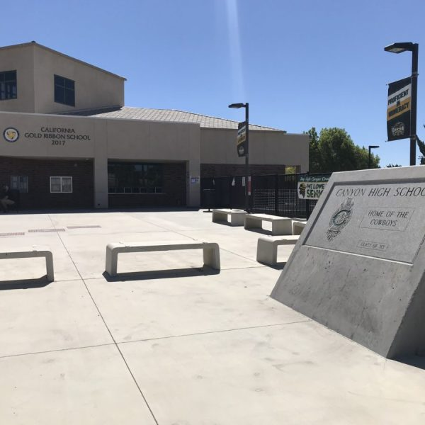 A relatively empty entrance to Canyon High School on the first day of school. The district moved to a distance learning format due to COVID-19. Photo by Dave Caldwell.