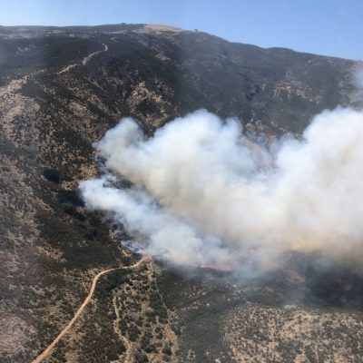 A fire in Agua Dulce reaches 150-200 acres on Wednesday. Photo courtesy of the Los Angeles County Fire Department.