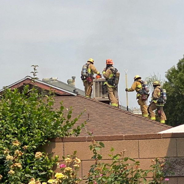 Los Angeles County Fire Department personnel respond to a house fire in Canyon Country on Monday, Aug. 17, 2020. Bobby Block/The Signal