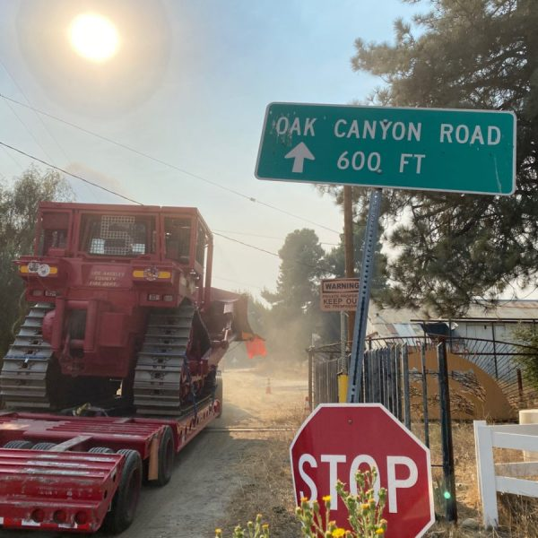 A Los Angeles County Fire Department dozer crew heads up Oak Canyon Road toward the Holser Fire on Monday, Aug. 17, 2020. Bobby Block/The Signal