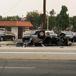 One person was killed following an solo-vehicle traffic collision where the vehicle overturned on Monday, Sept. 7, 2020. Leon Worden/SCVTV