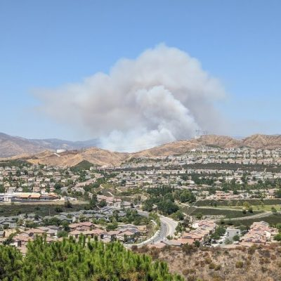 The #TexasFire burns in the hills behind the north Saugus community. Photo courtesy of the City of Santa Clarita.