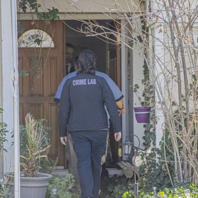 A member of the LASD Crime Lab enters the home of missing man Will Cierzan on Feb. 13, 2020.  Signal photo, Bobby Block.