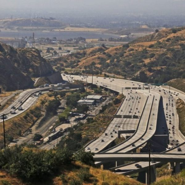 Traffic moves north and south at the Highway 14 and Interstate 5 connector in the Newhall Pass. Katharine Lotze/The Signal