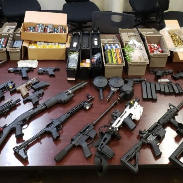 Some of the weapons found during an Acton drug raid on Thursday. Photo Courtesy of the Los Angeles County Sheriff's Department.